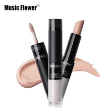 1PC Double Feature Concealer Highlighter Full Cover Creamy Concealer Stick + Liquid Foundation Concealer with Ball Applicator