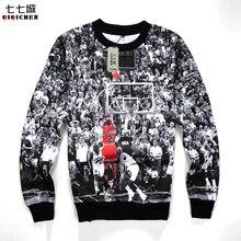 2017 Весна/осень Для мужчин 3D пуловер с капюшоном Печать Иордания Толстовка Для мужчин Уличная одежда с длинными рукавами и круглым вырезом Повседневное Толстовка Vetement