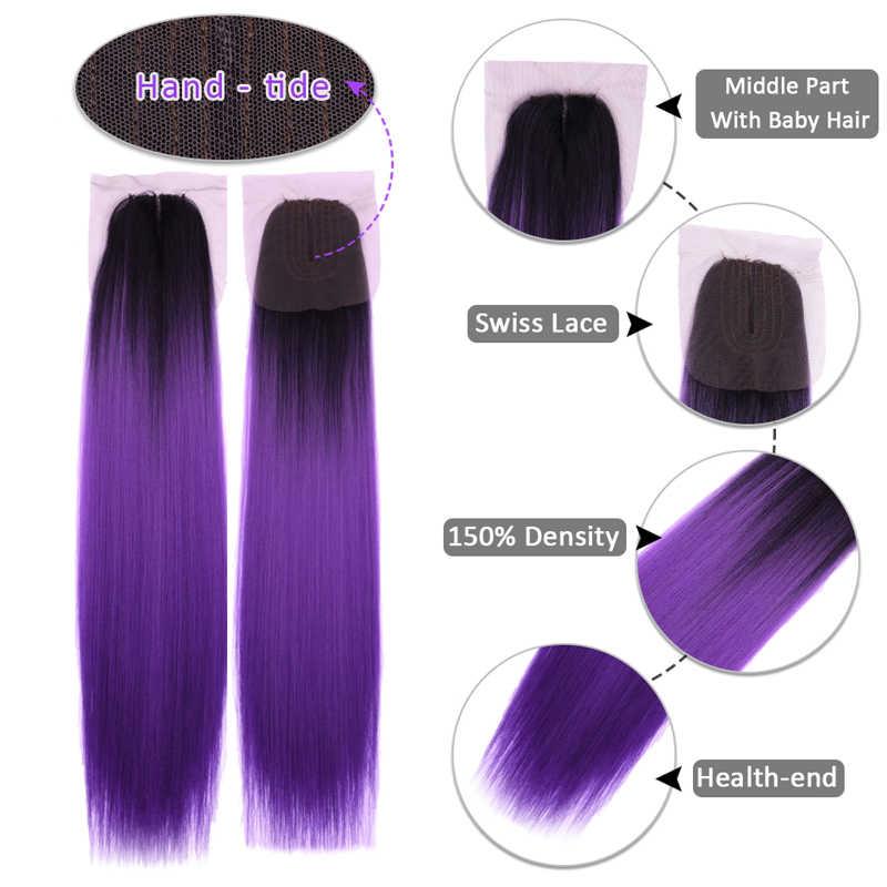 Miss Rola Yaki paquetes de pelo lacio con cierre Kanekalon extensiones de cabello sintético con cierre 16-20 pulgadas Color Ombre pelo