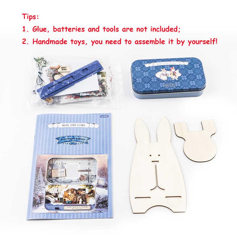 Vaguear em Torno de Inverno 3D Teatro De Madeira DIY Caixa Artesanal Caixa Bonito Mini Casa de Boneca Casa De Bonecas Em Miniatura Montar Kits de Presente brinquedos