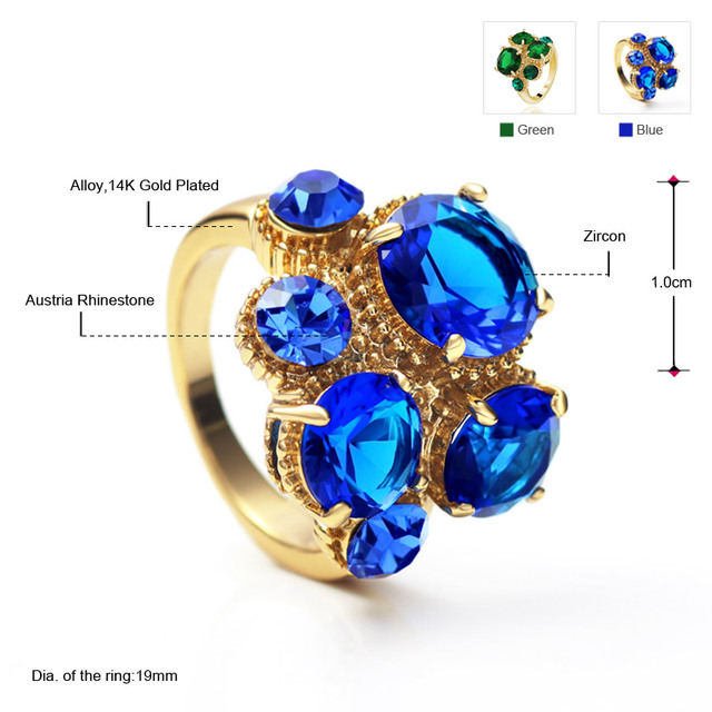 Neoglory Gold Plated Zircon Green Blue Party Finger Rings Statement Fashion India Jewelry Brand Gothic 2017 New Gifts