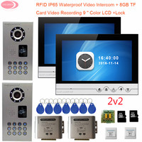 Home Video Door Phone 2 Doors 2 Units 9'' Video Intercom With Recording + 8GB TF Card Door Bell With Camera P65 Waterproof Rfid