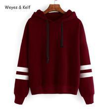 Weyes & Kelf Casual Striped Loose Hooded Sweatershirt Women hoody 2018 Autumn Solid  Woman Sweatshirt Long Sleeve Hoodies