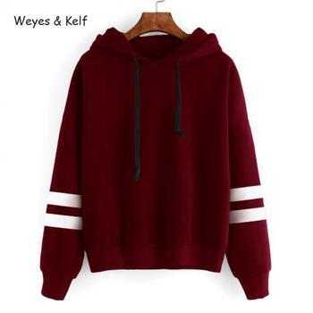 Weyes & Kelf Casual Striped Loose Hooded Sweatershirt Women hoody 2019 Autumn Solid  Woman Sweatshirt Long Sleeve Hoodies