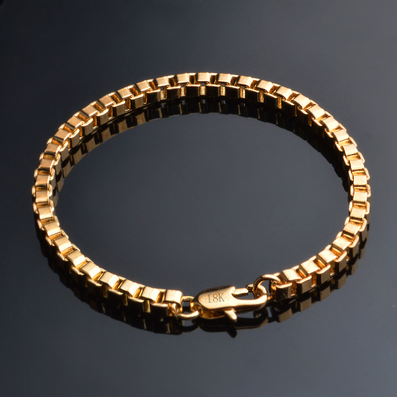 ER 4mm Male Gold Hand Bracelet Rock Homme Hiphop Box Chain Braslet Pulseira Masculina Ouro Men Punk Jewelry RB004