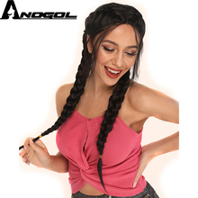 цена на Anogol Black Boxer Braids Long Natural Straight Double Braided High Temperature Fiber Synthetic Lace Front Wig With Baby Hair