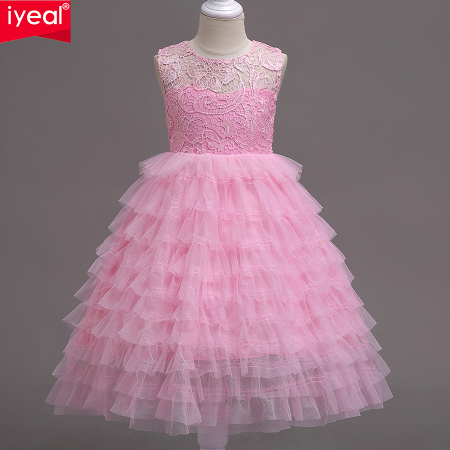 IYEAL Princess Children Girl Dresses for Wedding Girl Clothes Party Kids  Wear Ceremonies Baby Birthday Baptism d3b480171ba4