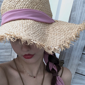 Image 3 - Fait à la main 100% raphia soleil chapeaux pour femmes noir ruban à lacets grand bord chapeau de paille en plein air plage été casquettes Chapeu Feminino