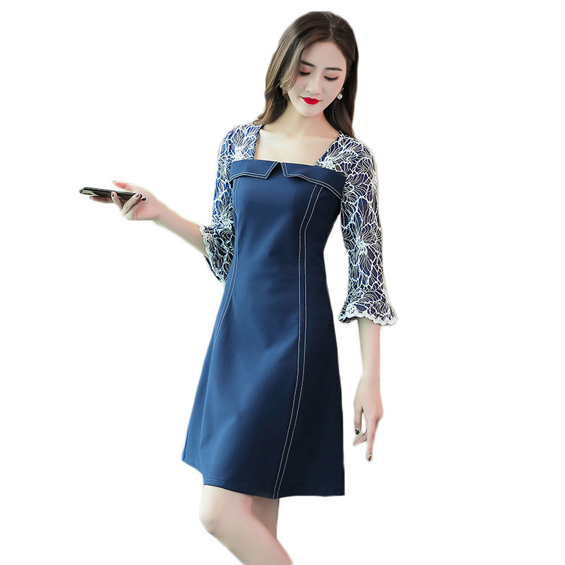 5XL Vintage Dresses Denim Patchwork Large Size Women Vestidos Elegant 2019 Spring Square Collar Seven quarter