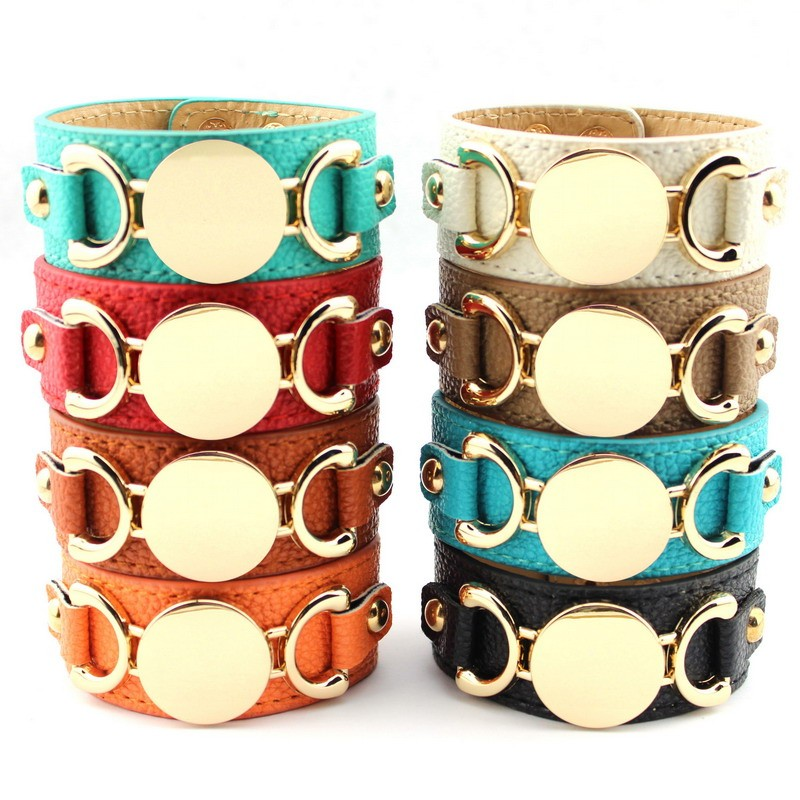 Wholesale Silver & Gold Blank Monogram Leather Wrap Bracelets for Women Fashion Snap Jewelry 25