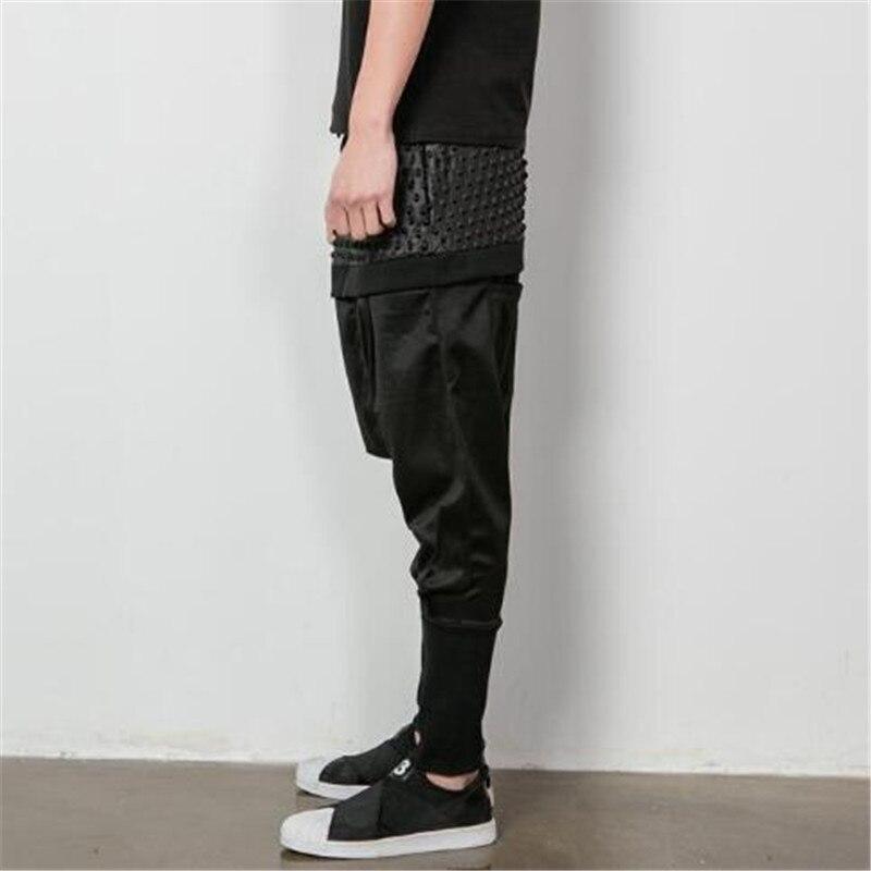 Mens Pants Black Loose Drop Crotch Cotton Wide Leg Comfort Free Size Solid Cargo