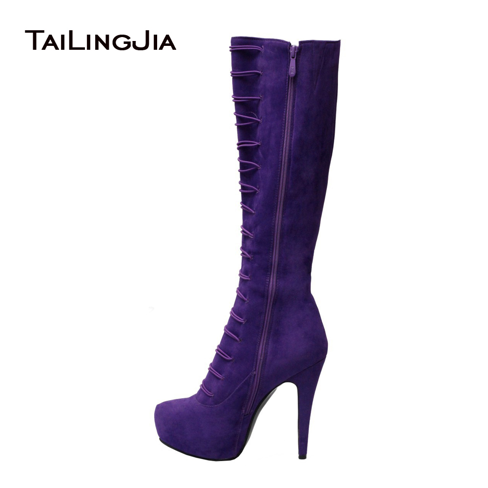 Ladies Boots 2017 Winter Purple Suede Stiletto Heel Buckle Lace Up Knee High Boots For Plus Size Women Zipper Shoes US 4-15.5 leopard synthetic suede women pointed toe high stiletto heel boots knee high lace up bootie women platform shoes ladies 2016
