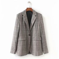 new women suits blazer plaid one button casual style