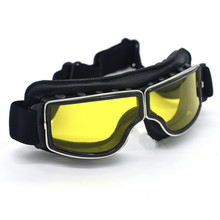 Black Lens Harley Style Pilot Motorcycle Goggles Retro Jet Eyewear