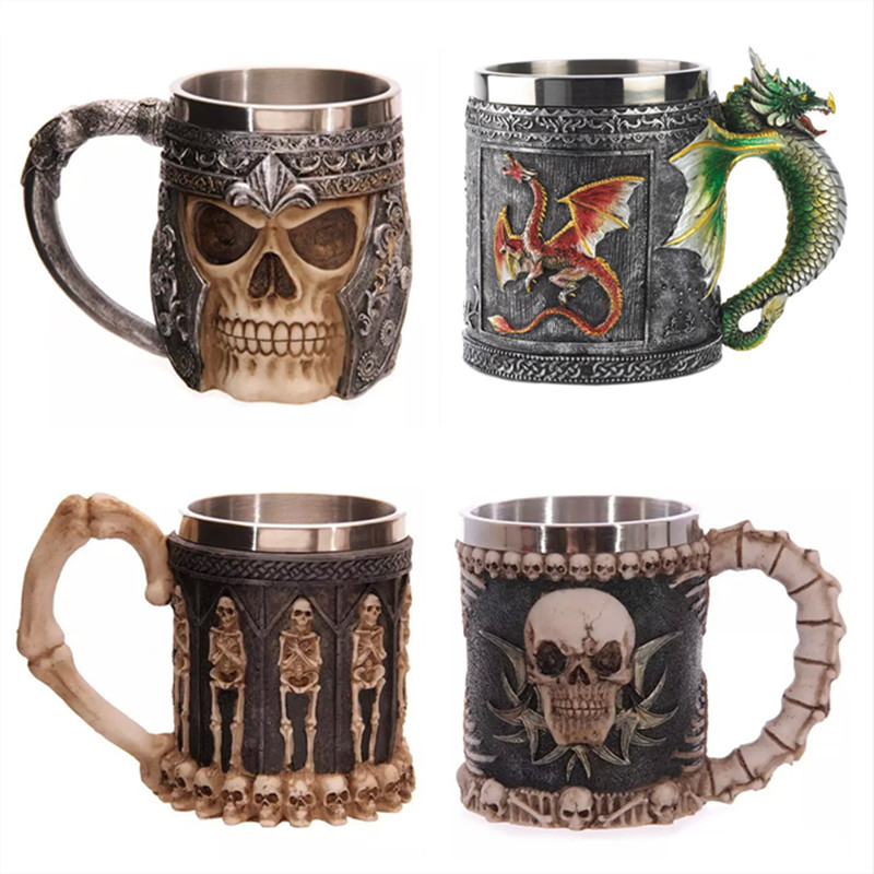 350ML Double Wall Stainless Steel 3D Skull Mugs Coffee Tea Bottle Mug Skull Knight Tankard Dragon