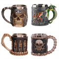 350ML Double Wall Stainless Steel 3D Skull Mugs Coffee Tea Bottle Mug Skull Knight Tankard Dragon Drinking Cup Kup  Milk