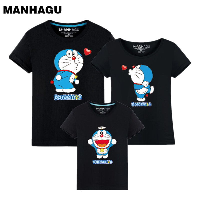 MANHAGU Cartoon Animal mother daughter matching outfits short sleeve Cotton T-shirt family matching clothes father mother son
