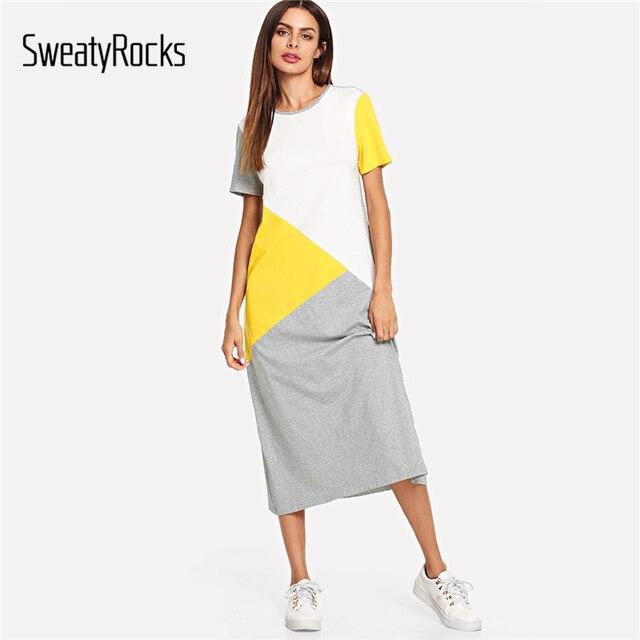 SweatyRocks kolor bloku, tunika, sukienka, kobiety, Streetwear proste luźne długie sukienki 2019 wiosna lato z krótkim rękawem Casual Dress