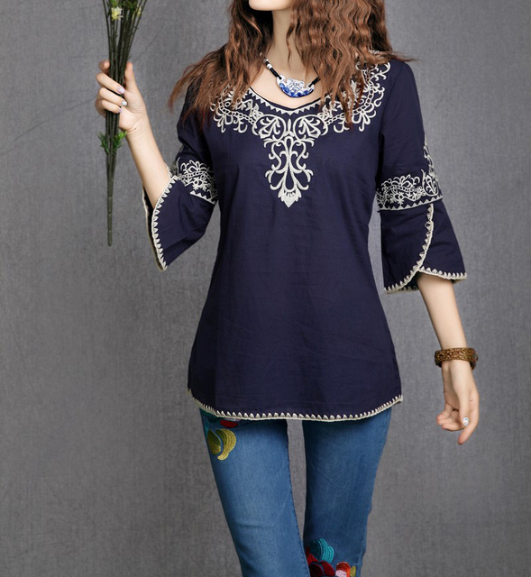 New 2016 Fashion Women Totem Pattern Three Quarter Sleeve Blouse Embroidery Floral Casual Shirts Plus Size O-neck Tops 162I 25