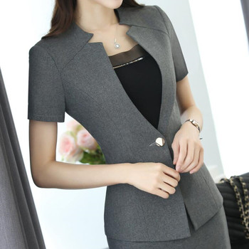 2017 Fashion women Gray blazer Business New summer formal V Neck short sleeve jackets office ladies plus size work wear black 1