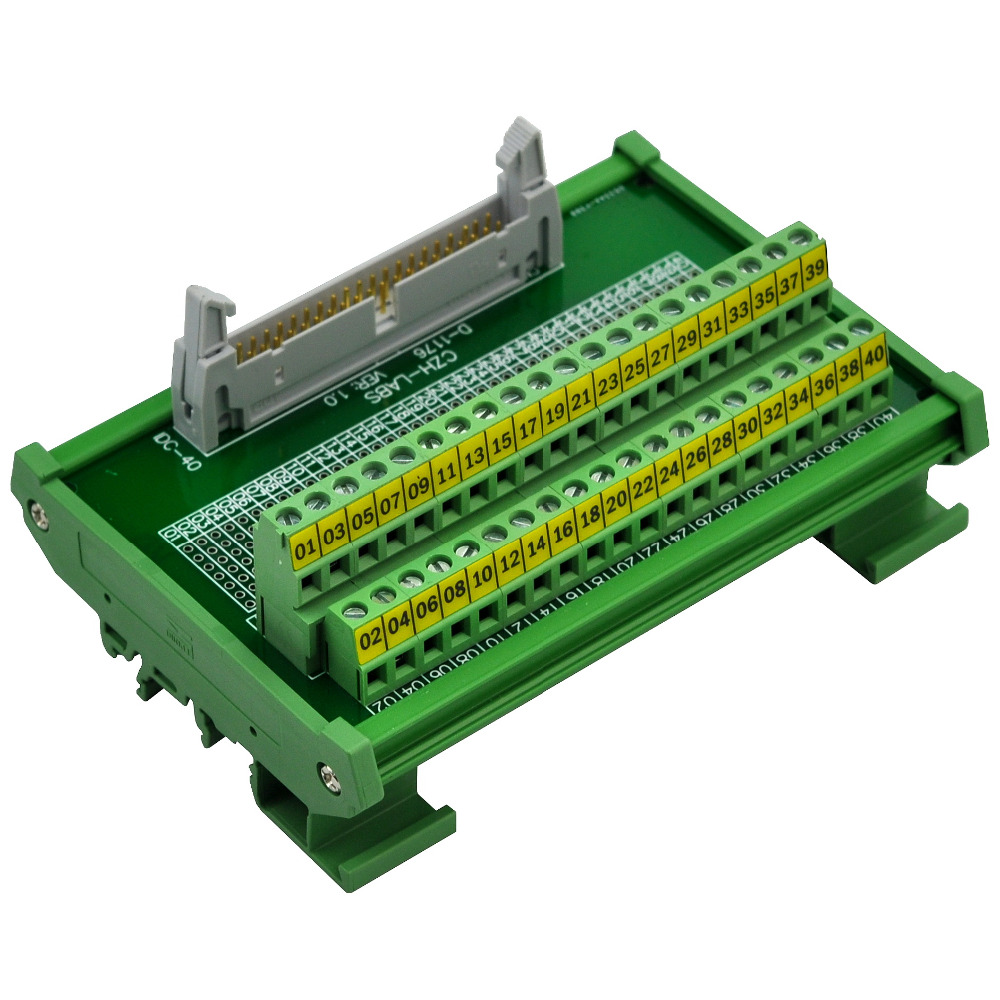 CZH-LABS DIN Rail Mount IDC-40 Male Header Connector Breakout Board Interface Module, IDC Pitch 0.1, Terminal Block Pitch 0.2