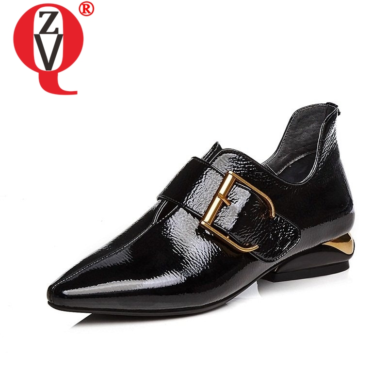 ZVQ Unique Side Zipper Pointed Toe Hook Loop Metal Decoration Shoes Comfortable Spats Buckle Spring Solid Women Casual Pumps