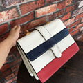 2016 Famous Designer Genuine  Leather Chain Messenger stripe Big Square Package Women Messenger Bags