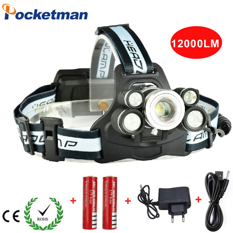 Super Bright 5 LED Headlamp 12000LM Zoomable Headlight Lantern 5-Modes USB Rechargeable LED Head Lamp With SOS Whistle for Camp
