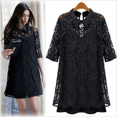 2013 Hot Sale Autumn winter Hign Quality European fashion small lapel half-sleeve lace  hollow out sexy basic one-piece dress
