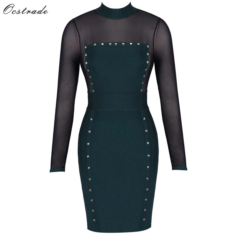Ocstrade Green High Neck Long Sleeve Above Knee Mesh Buttoned Transparent Bandage Dress