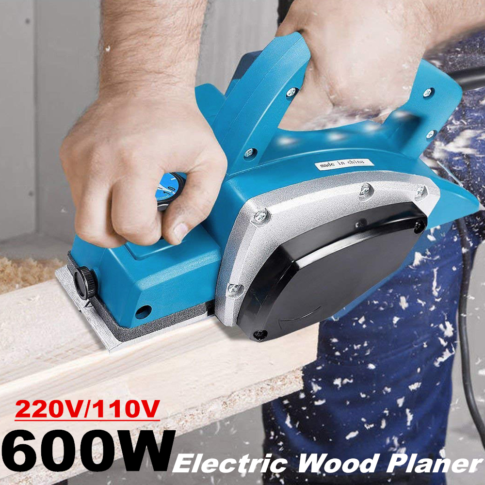 600w Electric Wood Planer Hand Held Copper Wire Wood Electric Planer Woodworking Tool Household Power Tool Electric Wood Planer