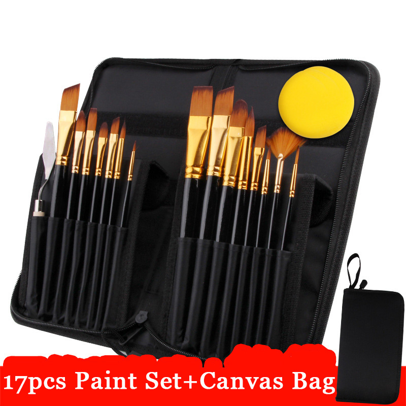 Eval 17Pcs Artist Paint Brush Set With Carrying Black Case Paint Knife Sponge for Watercolor Brush Oil Acrylic Drawing Painting 16 holes portable professional oil painting brush watercolor brush case knife paper pen case drawing set acrylic set bag only