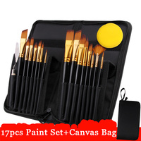 Eval 17Pcs Artist Paint Brush Set With Carrying Black Case Paint Knife Sponge for Watercolor Brush Oil Acrylic Drawing Painting