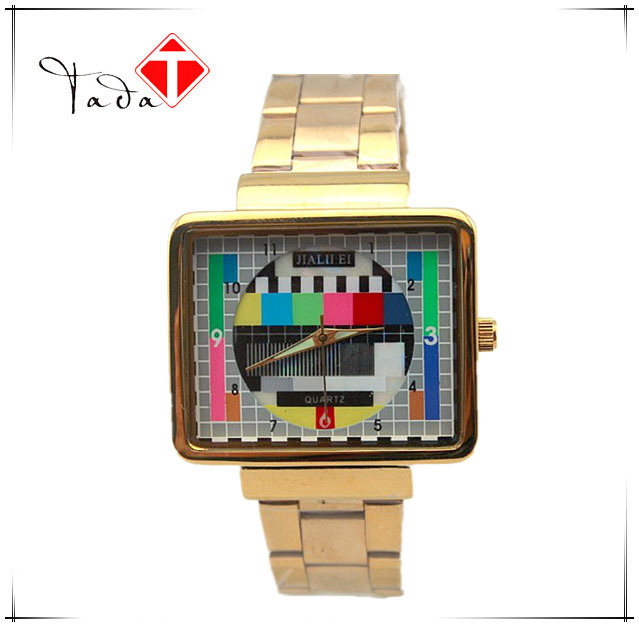 Luxury Brand Men Gold Steel Alloy Band Quartz Watches Japanese pc21 movement Square TV machine design