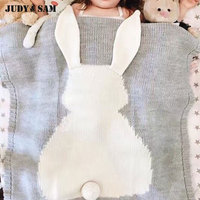 Wholesale Kids Rabbit Pattern Blanket For Baby Sleeping Easy Take Outwear Knitted Style Gray Pink Color