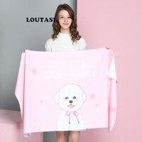 LOUTASI Soft Beach Towel for Adult Microfiber Cute Bow Tie Dog Large Summer Towel Toalla Cartoon 70X140cm Dog Pink Picnic Mat