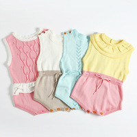 Spring Summer Northern European Style Baby Girl Doll Lead Knitting Wool Rompers Newborn Jumpsuit Infant Todderl