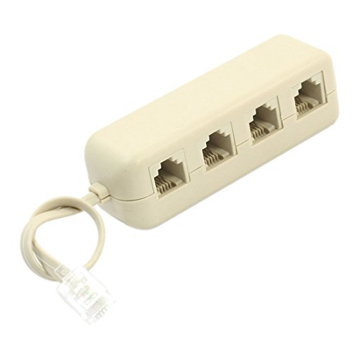 IMC Hot RJ11 6P4C to 6P4C 4 Way Telephone Line Modular Splitter Adapter White