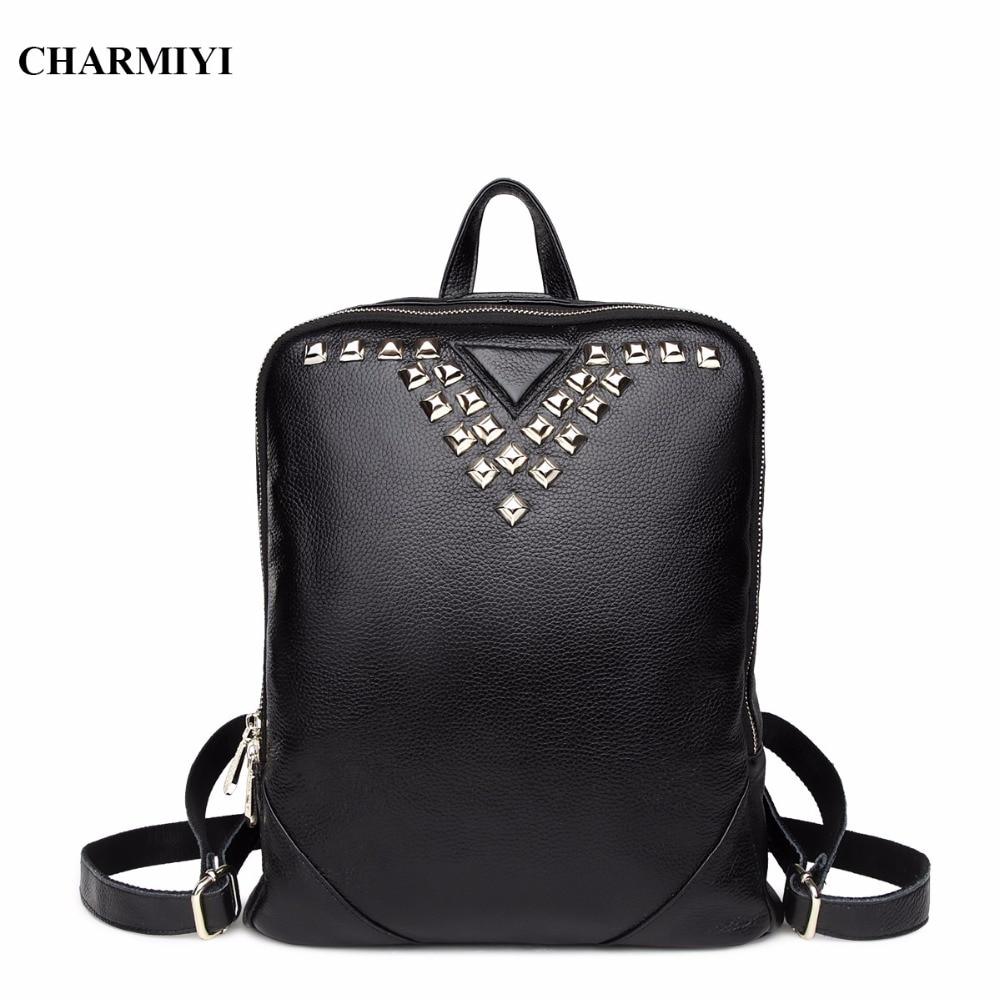 CHARMIYI women Genuine Leather rivet backpacks students School style bag teenage girls backpack women Leather Casual Travel bag