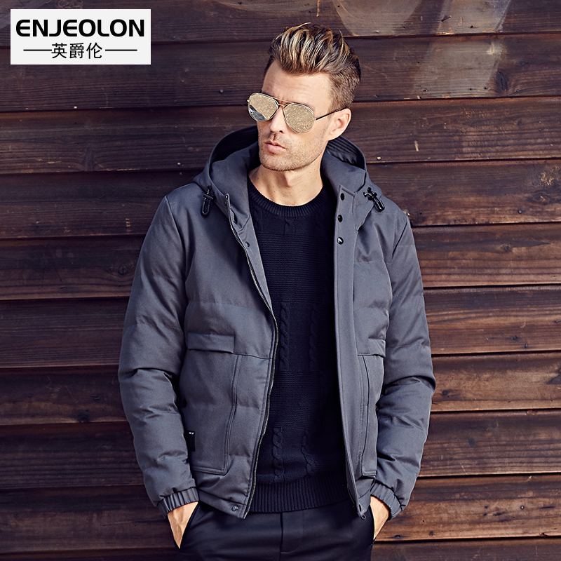 Enjeolon brand Winter Cotton Padded Hooded Jacket Men warm Parka coat Men 3XL Thick Quilted Coat Mens Hoodies WT0247