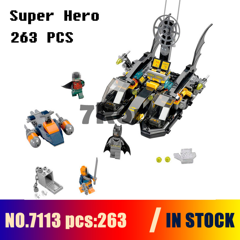 Compatible with lego 76034 Models building kits 7113 263pcs NBatman Bat Boat Port Super Hero Building Blocks toys & hobbies