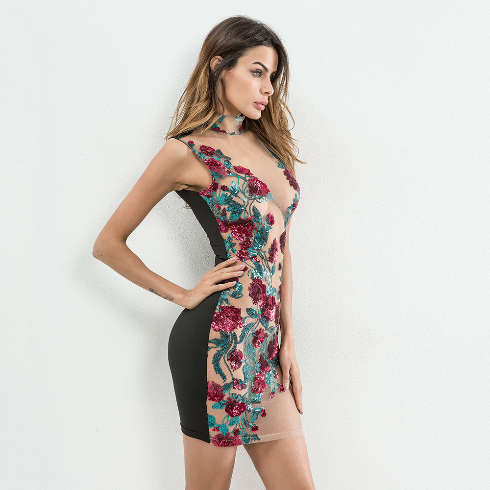 Image 5 - New Sexy Mesh Embroidery red Sequin Summer Dress Women Off Shoulder Perspective Luxury Night club bodycon Party Dresses vestidosDresses   -