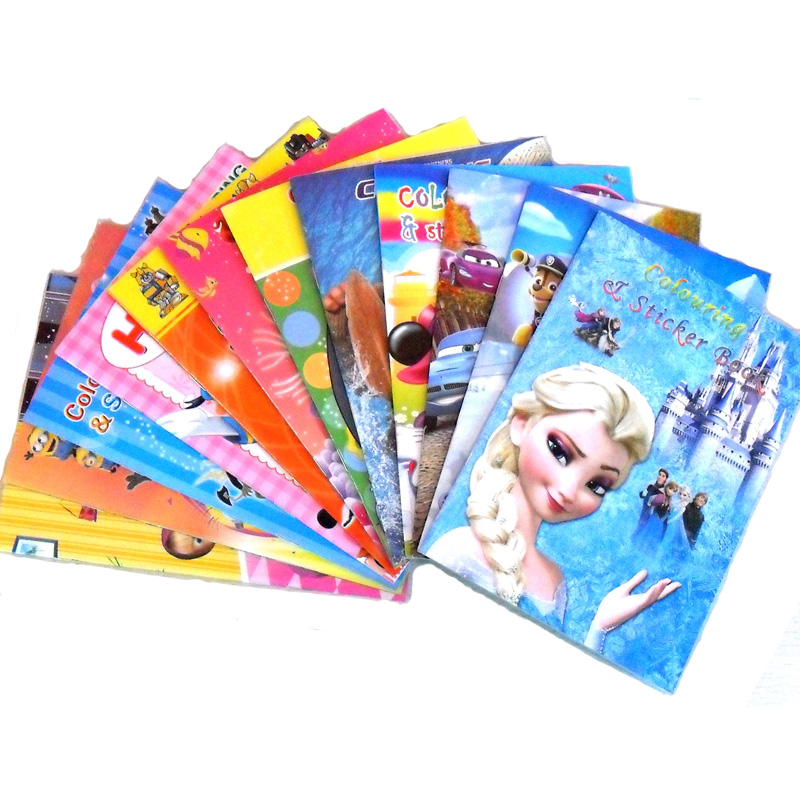 6PCS/LOT English ColouRing Book & Sticker Book Children Cartoons Graph Color Books 12 Types  Coloring Book  Wholesale(China)