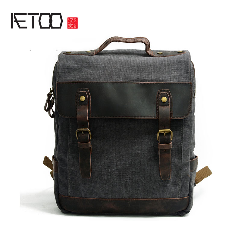 AETOO New canvas shoulder bag men's cotton backpack casual computer bag with leather travel bag aetoo the new canvas shoulder bag tide retro shoulder bag student backpack two color stitching backpack computer bag