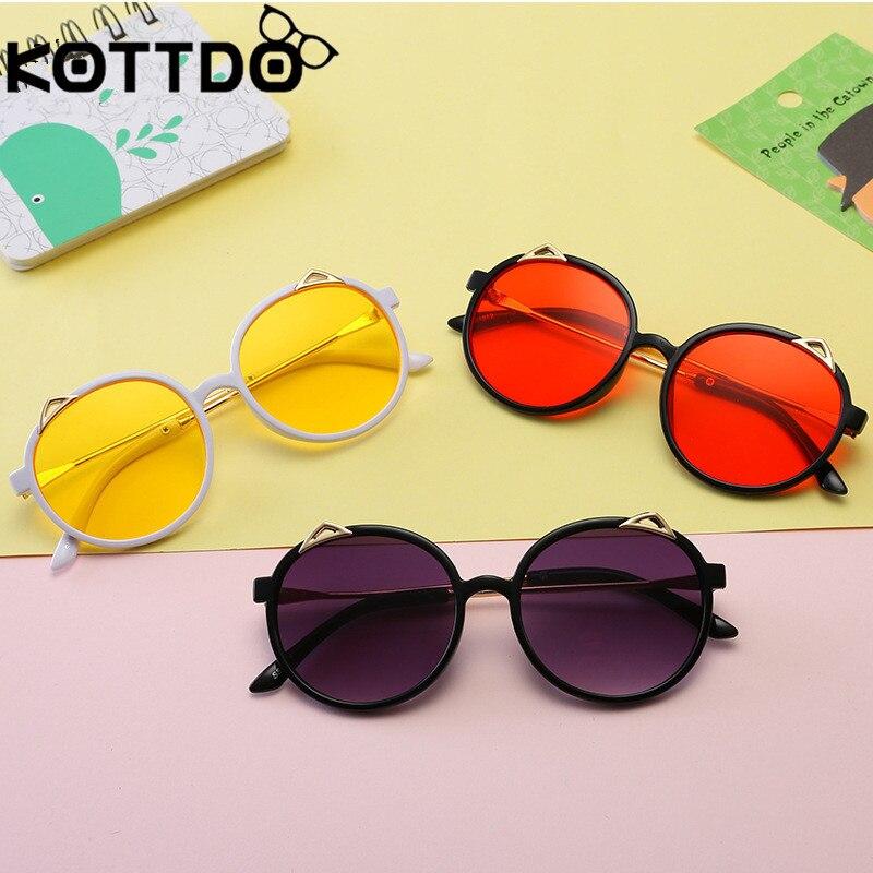 Kottdo Nette Kinder Sonnenbrille Metall Cat Eye Runde Sonnenbrille Kinder Jungen Mädchen Brillen Festival Geschenk Oculos Neueste Technik