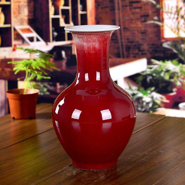 Ceramics Kiln Red Small Vase Home Accessories Crafts Decoration Clay
