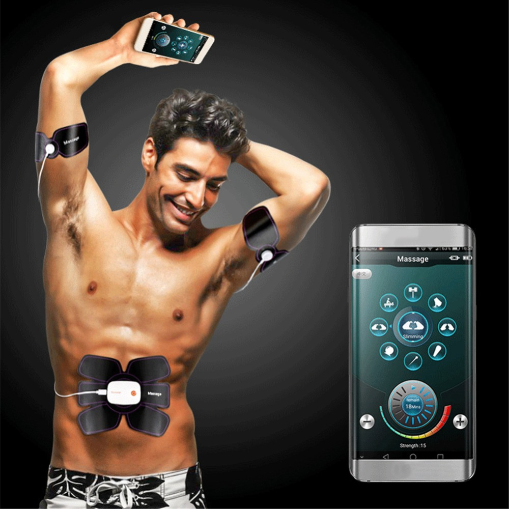 EMS Mobile Phone APP Power Fit Vibration Fitness Massager Exerciser Muscle Stimulator Body Slimming Training Loss Exercise Belt