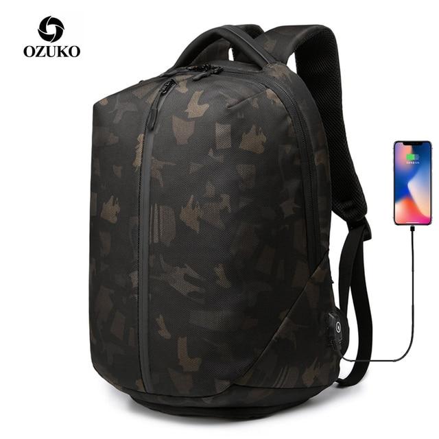 OZUKO Mochila antirrobo para ordenador portátil para hombre, resistente al agua morral escolar, con carga USB, para viaje, para adolescentes, 15,6