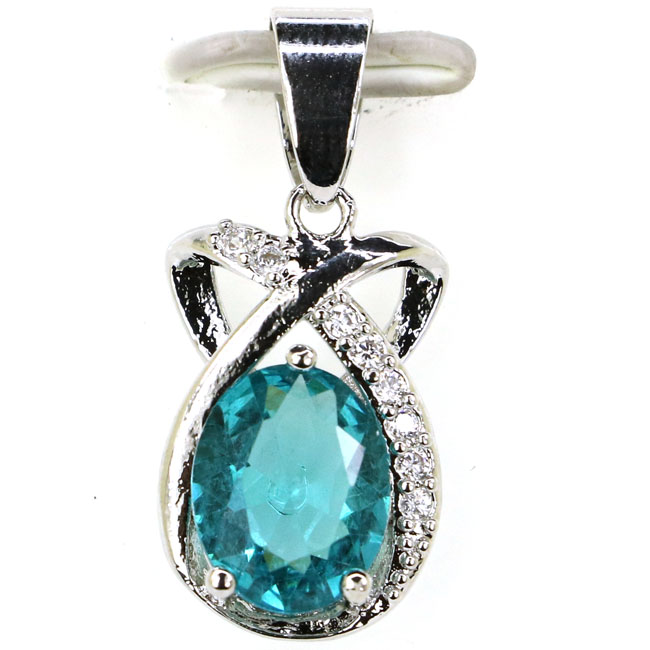2018 New Designed Rich Blue Aquamarine, CZ Wedding 925 Silver Pendant 26x12mm