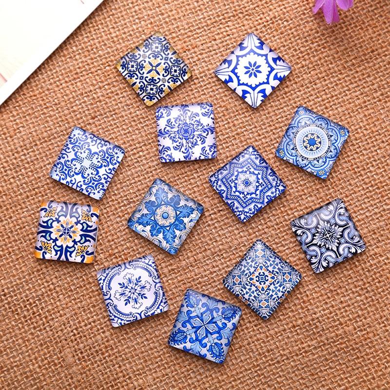 Flatback Square Pattern Ceramic Print Photo Glass Cabochon 10mm 20mm 25mm DIY Pendants Bracelets Components
